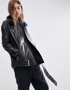 Кожаная байкерская куртка со съемным искусственным мехом на воротнике ASOS WHITE - Черный