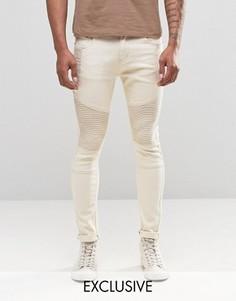 Супероблегающие байкерские джинсы цвета экрю Liquor & Poker - Stone