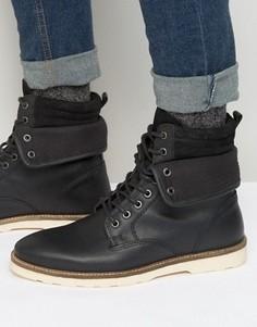 Черные кожаные ботинки со шнуровкой ASOS - Черный