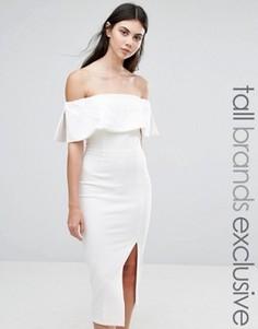 Платье-футляр миди с вырезом лодочкой и большой оборкой TTYA Kalorise - Белый Taller Than Your Average