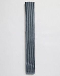 Серый вязаный галстук в полоску ASOS - Серый