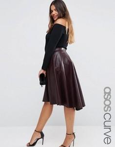 Расклешенная юбка миди из исскуственной кожи ASOS CURVE - Красный