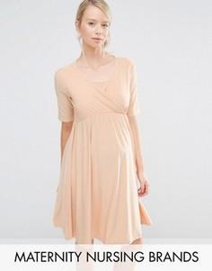 Платье для беременных и кормящих мам с запахом Bluebelle Maternity - Бежевый