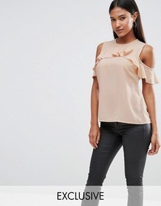 Топ с открытыми плечами и оборками Vesper - Розовый