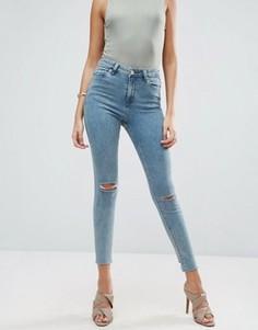 Выбеленные голубые джинсы скинни с асимметричным краем ASOS RIDLEY - Синий