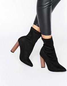 Полусапожки на блочном каблуке с заостренным носком Boohoo - Черный