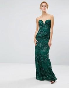 Платье макси с пайетками TFNC - Зеленый
