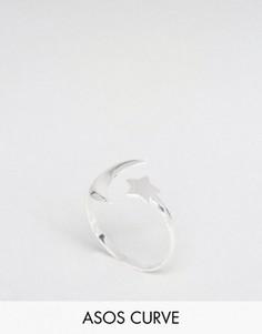 Серебряное кольцо с луной и звездой ASOS CURVE - Серебряный