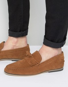 ASOS Tassel Loafers In Tan Faux Suede With Fringe - Рыжий