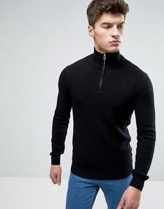 Черный фактурный джемпер с горловиной на молнии Solid - Черный