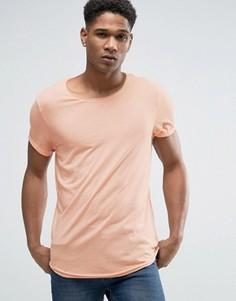Длинная футболка с необработанным асимметричным краем Esprit - Оранжевый