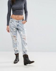 Рваные зауженные джинсы Glamorous - Синий