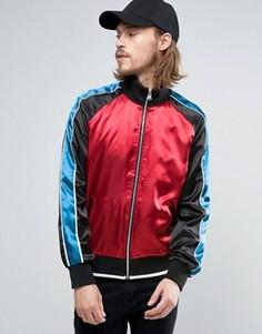 Спортивная куртка на молнии с красной вставкой в стиле колор блок ASOS - Красный