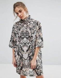 Круженое платье-кокон с высокой горловиной Ganni Turlington - Кремовый