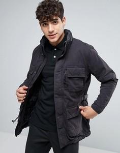 Черное пальто Abercrombie & Fitch Paratrooper M65 - Черный