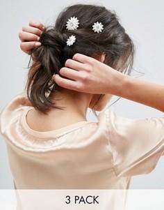 3 заколки для волос с искусственным жемчугом ASOS - Кремовый