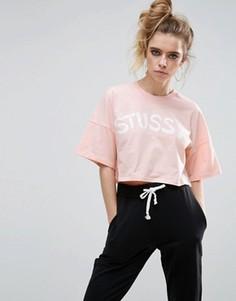 Футболка с абстрактным принтом Stussy - Розовый
