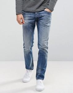 Эластичные зауженные джинсы слим с рваной отделкой Diesel Thommer 084DD - Синий