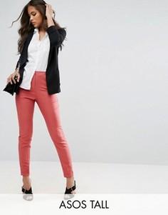 Узкие брюки с добавлением льна ASOS TALL - Розовый