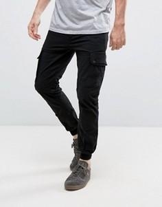 Узкие брюки-карго с манжетами Jack & Jones Intelligence - Черный