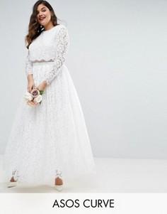 Кружевное платье макси для выпускного с длинными рукавами ASOS CURVE BRIDAL - Белый