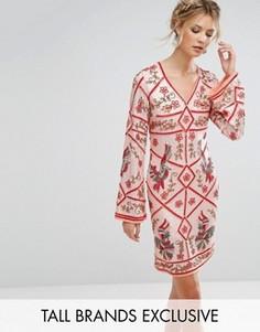Цельнокройное премиум-платье с декоративной отделкой Frock And Frill Tall - Оранжевый