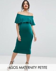 Платье-футляр миди с оборкой ASOS Maternity PETITE - Зеленый