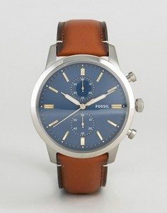 Часы с хронографом и светло-коричневым кожаным ремешком Fossil FS5279 Townsman - Рыжий