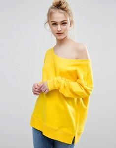 Свободный свитшот с открытыми плечами ASOS - Желтый