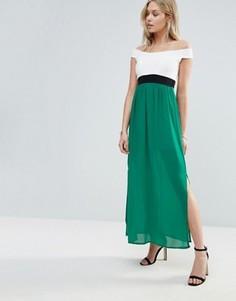 Wal G Off Shoulder Maxi Dress - Зеленый