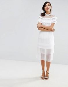 Плиссированная ярусная юбка миди Fashion Union - Кремовый