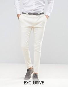 Укороченные льняные брюки скинни Noak - Белый