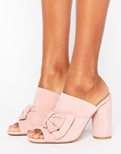 Розовые замшевые сабо на каблуке с бантами KG By Kurt Keiger Jessika - Розовый