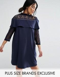Кружевное цельнокройное платье с рукавами 3/4 Unique 21 Hero - Темно-синий