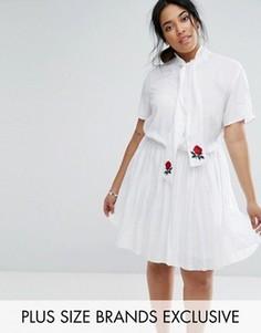 Короткое приталенное платье с короткими рукавами, шарфом и вышитыми розами Unique 21 Hero - Белый