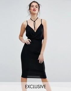 Платье миди на бретелях с запахом Club L - Черный