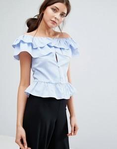 Boohoo Ruffle Bardot Stripe Top - Синий