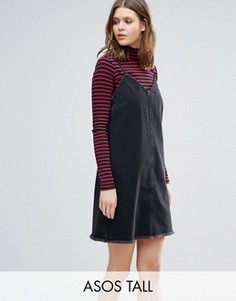Черное выбеленное джинсовое платье-комбинация с необработанным краем ASOS TALL - Синий