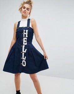 Джинсовый сарафан с принтом Hello House of Holland X Lee - Синий