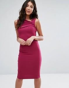 Платье-футляр с асимметричной горловиной City Goddess - Красный