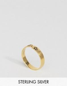 Незамкнутое кольцо из позолоченного серебра с луной и звездой ASOS - Золотой