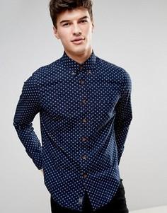 Облегающая рубашка с геометрическим принтом Abercrombie & Fitch - Темно-синий