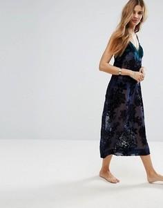 Платье-комбинация с цветочной отделкой Free People - Темно-синий
