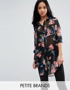 Удлиненная рубашка с цветочным принтом New Look Petite - Черный