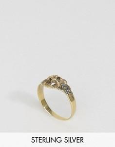 Серебряное кольцо со львом ASOS - Золотой