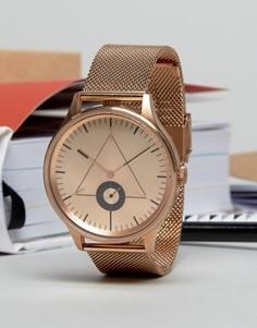Розово-золотистые часы с сетчатым браслетом Cronometrics - Золотой
