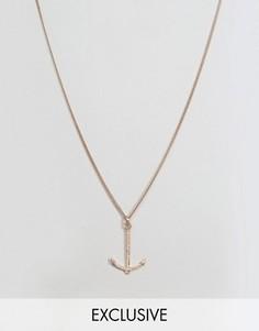 Ожерелье цвета розового золота с подвеской в форме якоря Simon Carter - Золотой