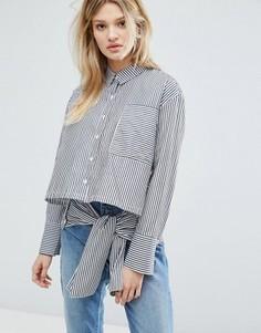 Oversize-рубашка с завязкой Outstanding Ordinary - Синий