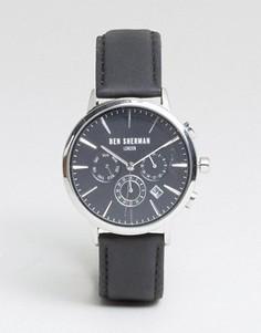 Часы с хронографом и черным кожаным ремешком Ben Sherman WB028BA - Черный
