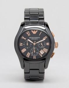 Черные керамические часы с хронографом Emporio Armani AR1410 - Черный
